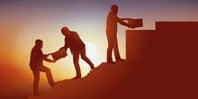 Symbole Du Travail D'équipe En Entreprise Avec Un Groupe Qui S'entraide Pour Atteindre Son Objectif En Bâtissant Un Mur Au Sommet D'une Montagne.