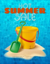 Vector Summer Background With Sand Kids Play Bucket And Spade On The Sand Hill And Water Tiles Background.