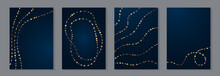 Modern Luxury Card Templates For Wedding Or Business Or Presentation Or Birthday Greeting With Golden Chains And Waves On A Navy Blue Background.
