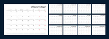 Calendar For 2022 Year. An Organizer And Planner For Every Day. Week Starts From Monday. 12 Boards, Months Set. Wall Layout. Clear Template. English Language.