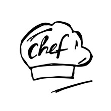 Vector Hand Drawn Illustration Of A Chef's Hat. Restaurant Icon.