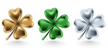 Golden, Green And Silver Clover Leaf Isolated On White Background, Vector Illustration For St. Patrick Day. Four-leaf Jewelry 3d Design