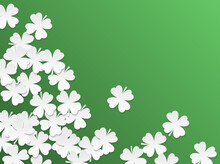 Green St. Patrick Day Background With Clover Four-leaf Flat White Paper Cut Leaves. Vector Simple Design