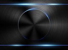 Vector Dark Realistic Textured Polished Metal Backgrund. Blue Neon Light Tech Industrial Design. Black Brushed Plate