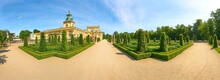 Palace In Wilanow, The Baroque Residence Of King Of Poland Jan III Sobieski. View Of The Facade From The Gardens