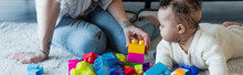 Woman Playing With Colorful Building Blocks And Little African American Kid On Floor At Home, Banner