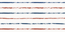 Stripes Seamless Pattern, Red And Blue Patriotic Striped Vector Background, American Watercolor Brush Strokes. USA Colors Grunge Stripes
