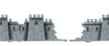 Stone Castle Wall, Vector Seamless Medieval Brick Tower Ruin Background, Isolated On White. Game Fortification Building, Broken Cracked Fortress Illustration. Castle Wall Fantasy Historical Wallpaper