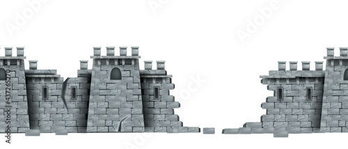 Fotografie, Tablou Stone castle wall, vector seamless medieval brick tower ruin background, isolated on white
