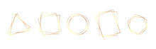 Gold Frames Collection. Wedding Invitation Elements. Shiny Geometric Borders On White Background. Modern Golden Stripes. Luxury Design Templates. Vector Illustration
