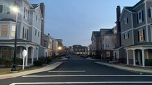 Hingham Shipyard Condos In The Sunset, Streets Lit By Streetlights