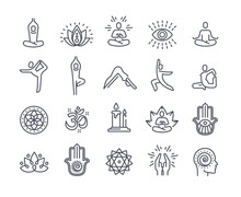 Yoga And Meditation Practice Vector Line Icons