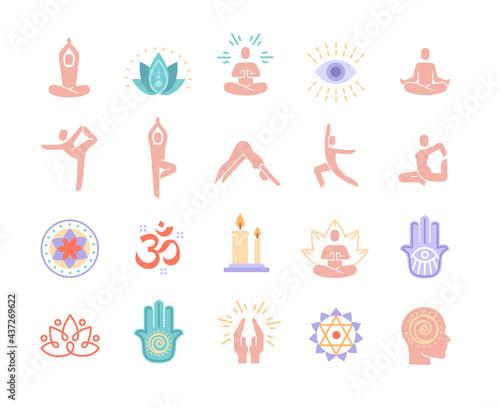 Billede på lærred Yoga, meditation practice colorful vector icons