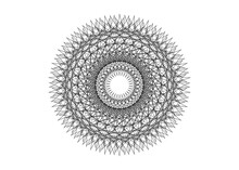 Round Mandala Beautiful Geometric Ornament Lacy Style, Black Line Art Embroidery, Vector Isolated On White Background. Patterned Design Element. Zentangle Style