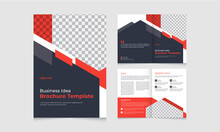 Corporate Business Bifold Brochure Template With Modern, Minimal And Abstract Design