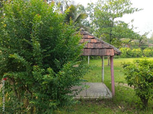 Selective focus of an alcove in a garden Fototapeta