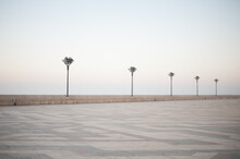 Pavers Ornament And Street Lights Of Vast Expanses Of Squares Casablanca Embankment Hassan II Mosque In Sunset Illumination