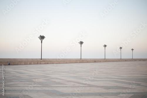 Carta da parati pavers ornament and street lights of vast expanses of squares Casablanca embankm