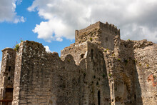 The Norman Keep Of Portchester Castle And The Walls Of The Inner Bailey, Portchester, Hampshire, UK, From The Outer Bailey