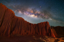 Beautiful Milky Way Raised Over Natural Earth Pillar In Various Shapes Crafted By Soil Erosion In Lalu, Sakaeo, Thailand