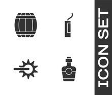 Set Tequila Bottle, Gun Powder Barrel, Spur And Dynamite Bomb Icon. Vector