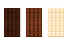 Vector Illustration Of A Set Of Chocolate Bars. Milk, White, Bitter Chocolate. Isolated On White Background.