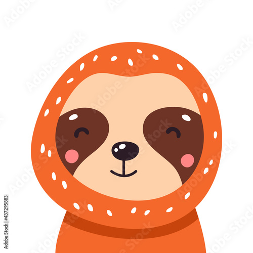 Fototapeta premium Cute baby sloth. Adorable illustration Vector funny sloth for greeting card, invitation, poster, phone and book cover, background