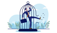 Businessman Breaking Free - Man Kicking A Cage Open To Find Freedom. Break Free From Work, And Life Change Concept. Vector Illustration With White Background
