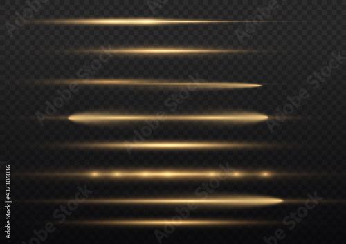 Carta da parati Horizontal light rays, beams, glow yellow line.