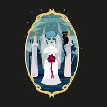 The Ghost Bride. Halloween Costume. Cemetery With Graves And Headstones. Frame With Patterns In Vintage Style. Black Cat With A Bow On The Neck. Vector Illustration For Halloween. Ritual Candles.