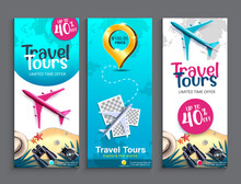 Travel Tours Sale Vector Poster Set. Travel Tours Limited Offer Text Up To 40% Off With Airplane, 3d Pin And World Map Elements For International Travelling Discount Promotion Design.