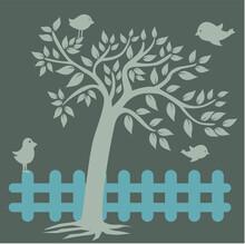 Wallpaper, Tree Illustration, Bird, Fence On A Gray Background