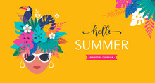 Summer Time Fun Concept Design. Creative Background Woman's Head, Jungle Leaves And Toucan. Summer Sale, Post Template
