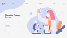A Scientist Is Doing Research In A Laboratory. He Is Watching With A Microscope On The Table, Holding A Chart In His Hand And A Test Tube In The Other. Online Web Page Concept Template.
