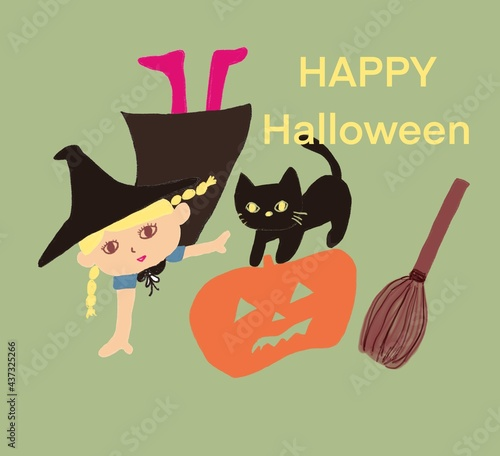 Fotografiet ハロウィンと魔女の女の子と黒猫とランタンカボチャ