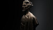 3D Composite Illustration Of A Man. Half Bust. Sculpture. 3D Rendering. Art