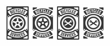 Set Of Black And White Illustrations Of Gear, Crossed Wrenches And Text On The Background. Vector Illustration In Vintage Style For Poster, Emblem, Sticker, Label, Badge. Bicycle Service. Workshop.