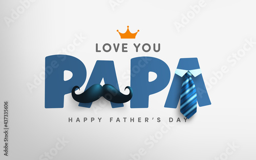 Fotografia, Obraz Father's Day poster or banner template with mustache and necktie on gray background