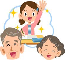 笑顔の祖父母と成績優秀な女の子孫
