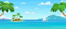 Cartoon Tropical Island With Palm Trees