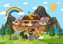 Outdoor Nature Scene With Noah's Ark With Animals