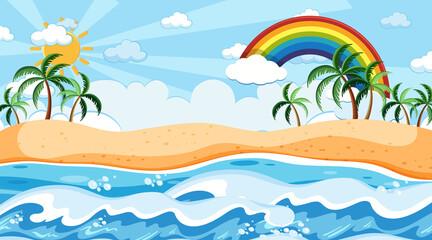Fototapeta na wymiar Beach landscape at day time scene with rainbow in the sky