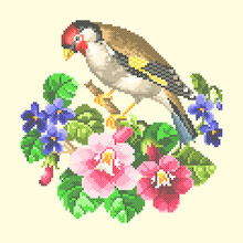 Vector Art Embroidery Bird And Flowers