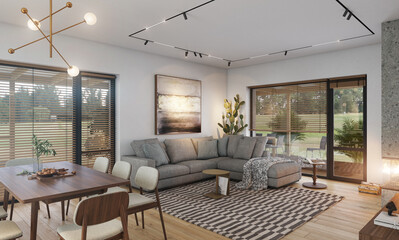 Living room interior in a private house with fireplace and kitchen.