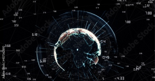 Compostion of globe of network of connections on black background
