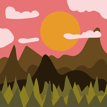 Abstract Minimalist Mountain And Forest Landscape At Sunset. Contemporary Summer Print For Cards, T-shirt Design, Wall Decor Etc. Vector Hand Drawn Illustration