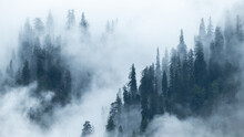 View Of The Mountains In Manali Himachal Pradesh In India Covered By Dense Fog