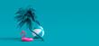 Leinwandbild Motiv Pink flamingo and palm tree on blue summer background 3D Rendering, 3D Illustration