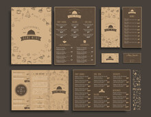 Set Of A4 Menu, Folding Brochures And Flyers Narrow For A Restaurant Or Cafe. The Templaters In Retro Style With Drawings Of Hands And Logo. Vector Illustration.