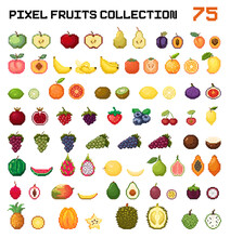 Pixel Fruits Set. Pixel Art Fruits Huge Vector Collection. Pixel Fruits And Berries Design For Game, App, Sticker. Big Set Of Pixel Art Fruits Icon In 8 Bit Retro Style. Web Or Game Icons Collection.
